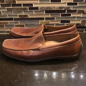 Ecco leather tan comfort driving loafers 44